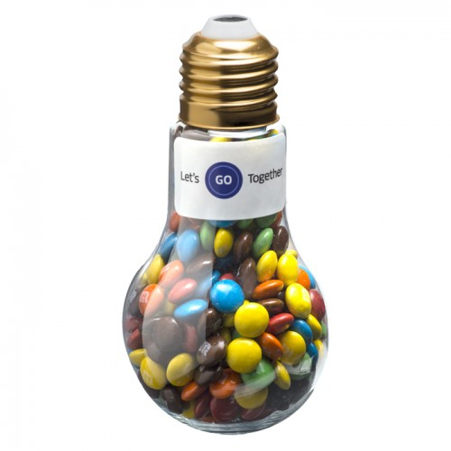 Custom branded Light Bulb filled with delicious Mini M&Ms 100g