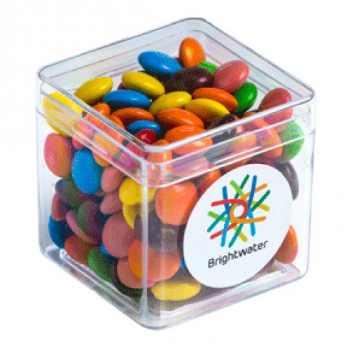 M&Ms 60g packed in hard acrylic cube